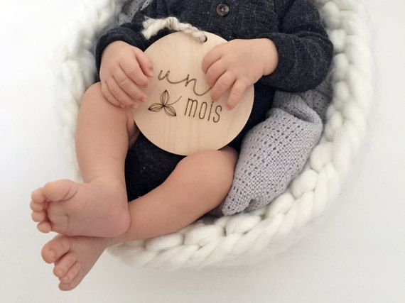 FRENCH  Baby Milestone Plaques 5-piece Set  Nursery by FranceMars
