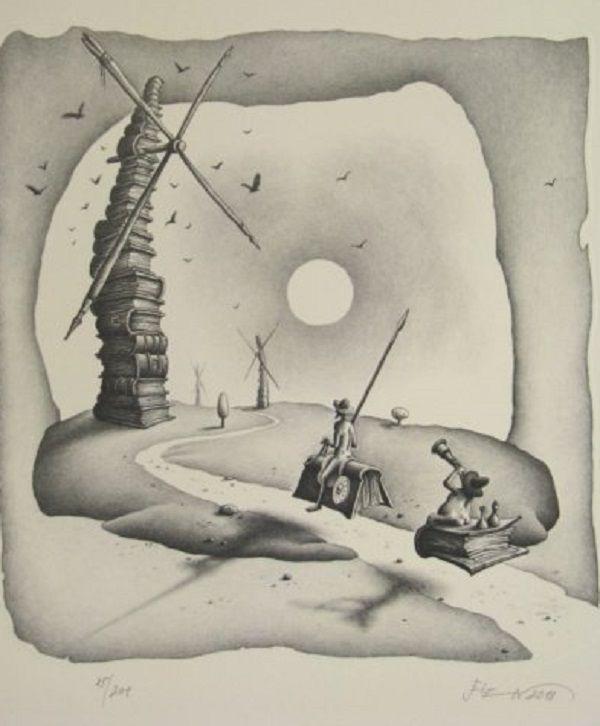 Don Quichote and Sancho Panza.Illustration Oldřich Jelen