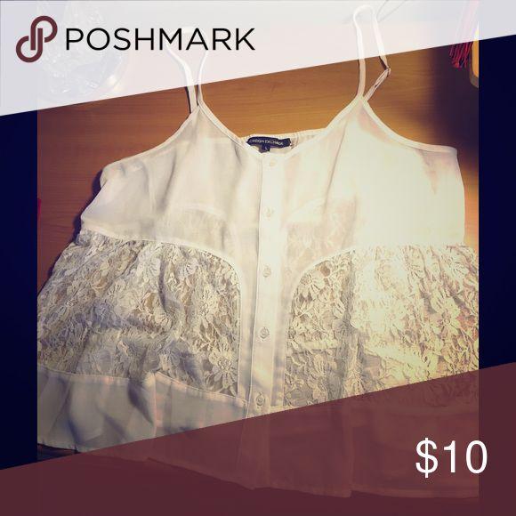 Foreign exchange White spaghetti strap shirt Foreign exchange white shirt. Great for the summer and it's a really pretty shirt. Foreign Exchange Tops