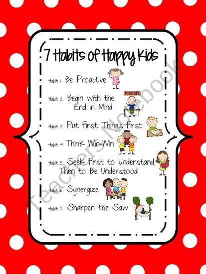 7 Habits of Happy Kids Poster (Red) product from KCriss Creations on TeachersNotebook.com | FREE ...