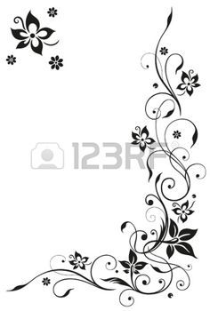 Abstract, floral tendril, black vector photo
