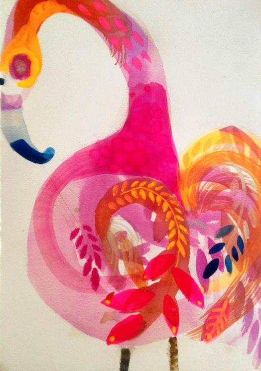 Flamingo, watercolour | Artist: Jessica Breakwell, Melbourne, Australia