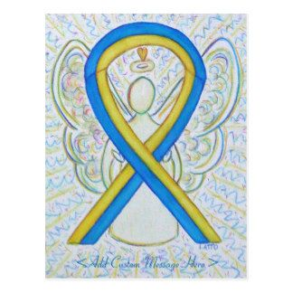 Blue and Yellow Awareness Ribbon Angel Postcard - The meaning of the yellow and blue awareness ribbon is support for Down's Syndrome.
