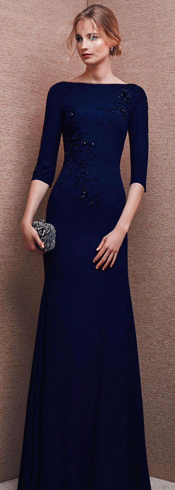 Marvelous Chiffon Bateau Neckline Three-quarter Length Sleeves Sheath Evening Dresses With Beadings