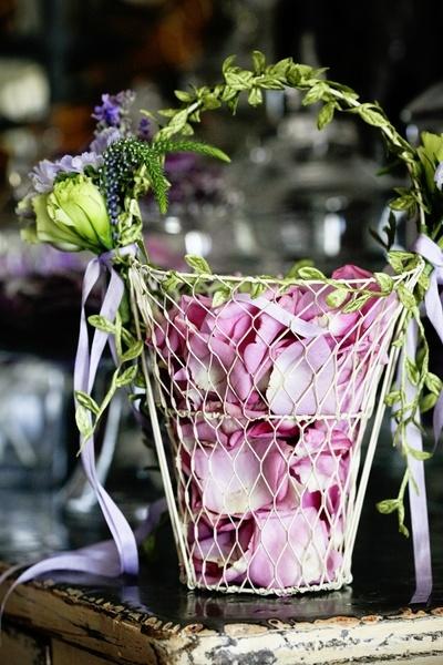 flower girl rose petal basket...