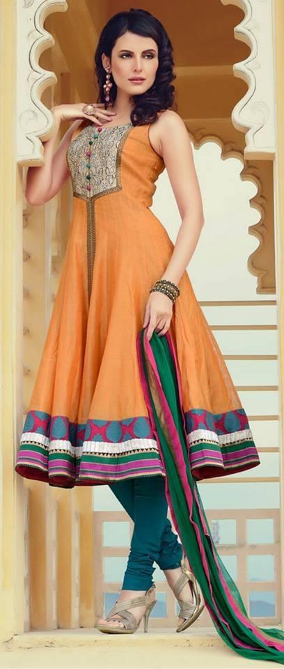 Light #Orange Chanderi #Cotton Churidar Kameez @ $136.69