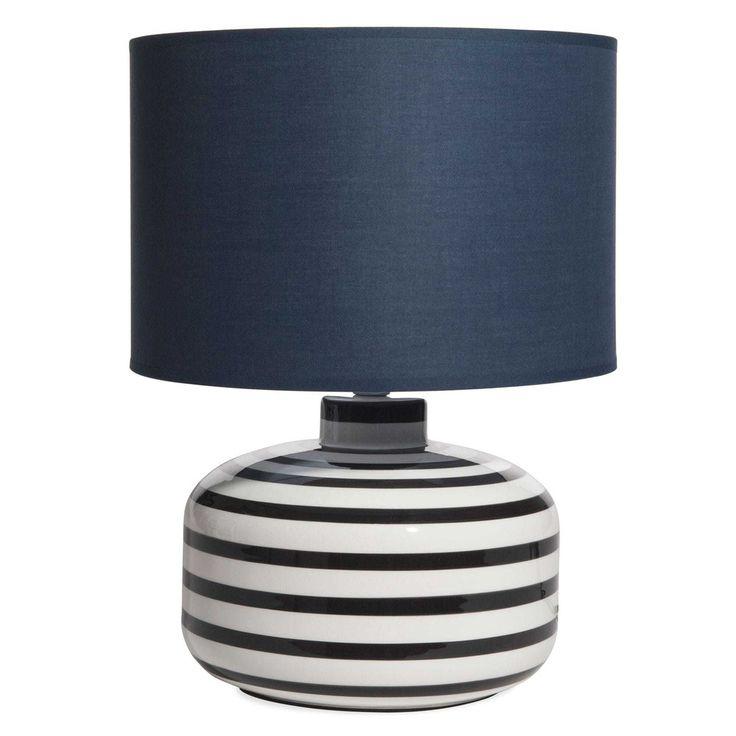 Lampe en céramique rayée abat-jour bleu marine