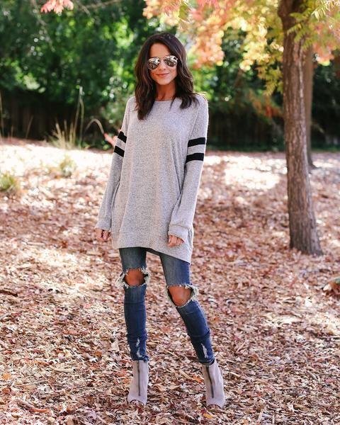 Straight A Varsity Knit Top - Heather Grey – VICI