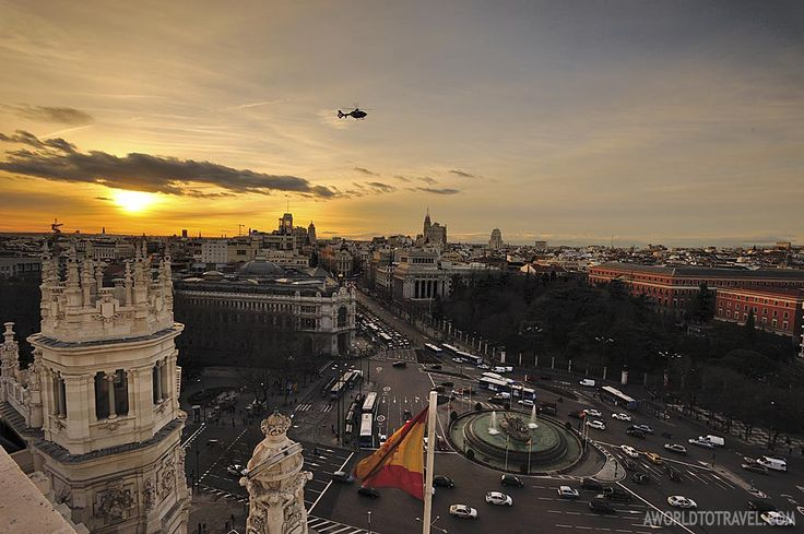 Madrid sunset postcard from Circulo de Bellas Artes rooftop - A World To Travel 1