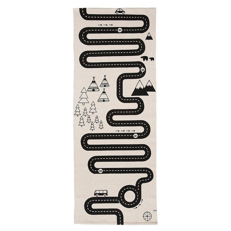 OYOY Adventure Vloerkleed 70 x 180 cm - Zwart/Wit