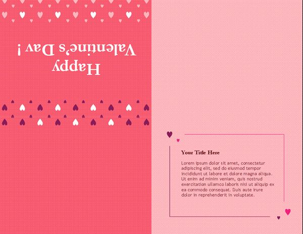 Quarter Fold Card Template Word Unique Valentine S Day Card Quarter Fold Card Templates Printable Card Template Baby Shower Invitations Diy