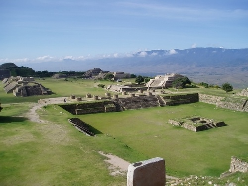 Monte Alban, Oaxaca, Mexico. This is the site of one of the largest cities in Oaxaca during the Classic Period. It experienced its golden age between 100 and 600 AD. After its golden age the city was abandon and the mystery was a mystery.