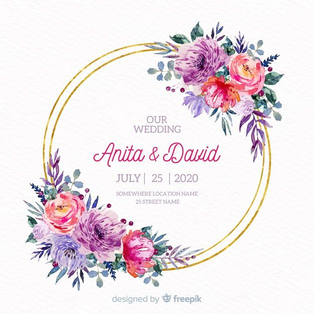 Download Watercolor Floral Frame Wedding Invitation For Free