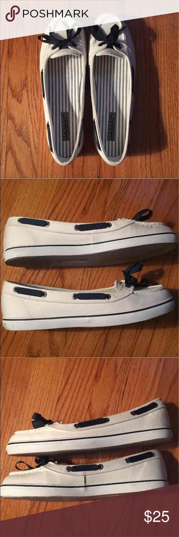 White Sperrys with navy blue ribbon Worn only a few times Sperry Shoes Flats & Loafers