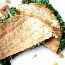 Kale, Red onion, and Roasted green chili quesadilla