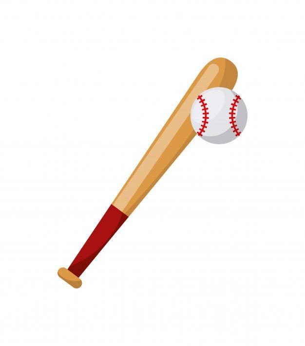 Bate De Beisbol Y El Icono De La Bola Sobre Fondo Blanco Diseno Colorido Ilustracion Vectorial Vector Premium Bate De Beisbol Beisbol Ilustracion Vectorial