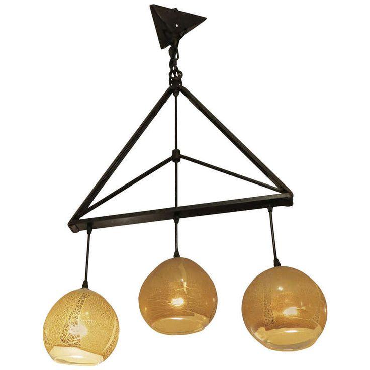 Mid-Century Modern Style, Handblown, Iron Triangle, Three Light Pendant