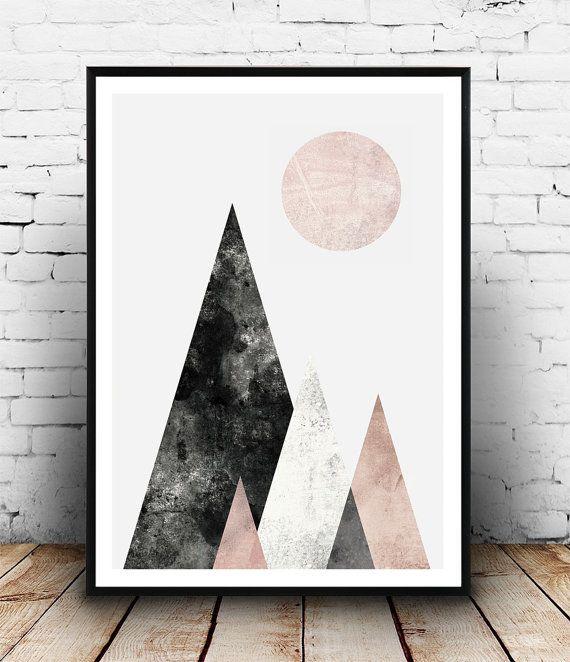 Scandinavian print, Mid century modern, Watercolor art, Abstract print, Pink gray art, Geometric print, Mountains print, home wall decor  Dimensions