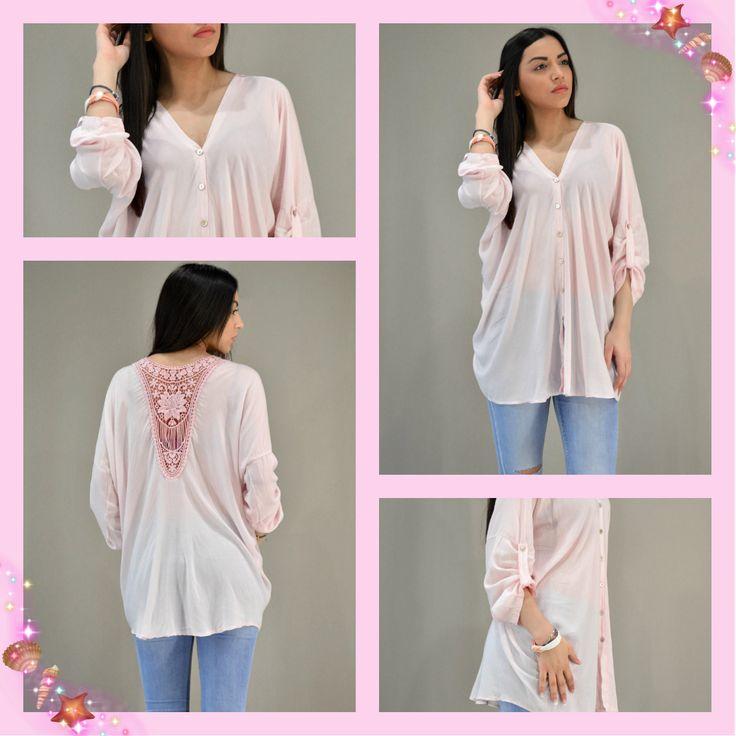 Look of the day: PINK SUMMER!!! Γυναικείο ροζ πουκάμισο νυχτερίδα με κέντημα στην πλάτη.  #metaldeluxe #fashion #fashionista #women #womensfashion #womensclothes #womenswear #newarrivals #spring #summer #comfort #style #chic #shirt #pink