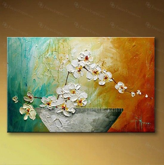 Hand-painted Flower Oil Painting with Stretched Frame - Focus Vogue