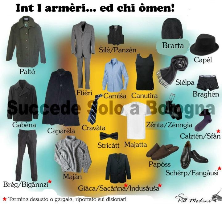 Menswear in Bolognese Dialect  www.succedesoloabologna.it