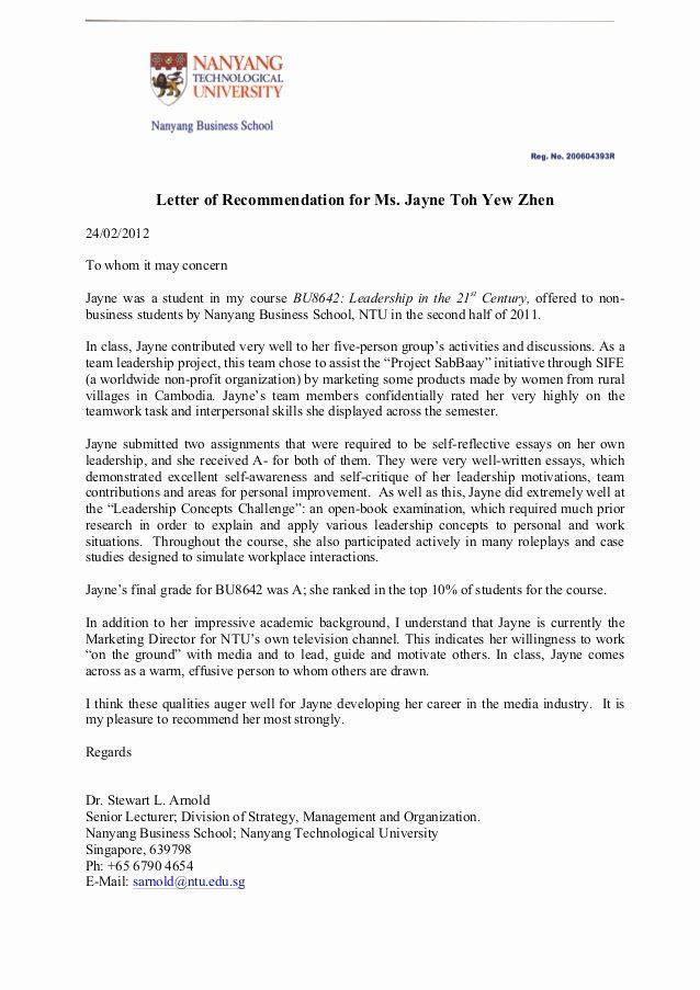 Peer Recommendation Letter Example Inspirational Letter Of Re Mendation For Jayne Toh In 2020 Reference Letter Business Letter Template Letter Example