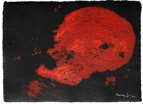 Armando, Kopf (rot), 2014, Handingekleurde carborundum-druk op handgeschept papier, 56 x 76 cm (oplage 20 ex.), Post + Garcia Maastricht