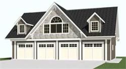 Carriage House 4 Car Garage Plans With Loft 2402-1 by Behm Design