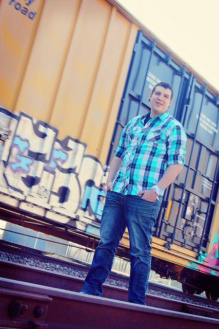 Senior Photo Shoot  Male - Senior Picture ideas for guys - Train  Graffiti  Rail Road Tracks