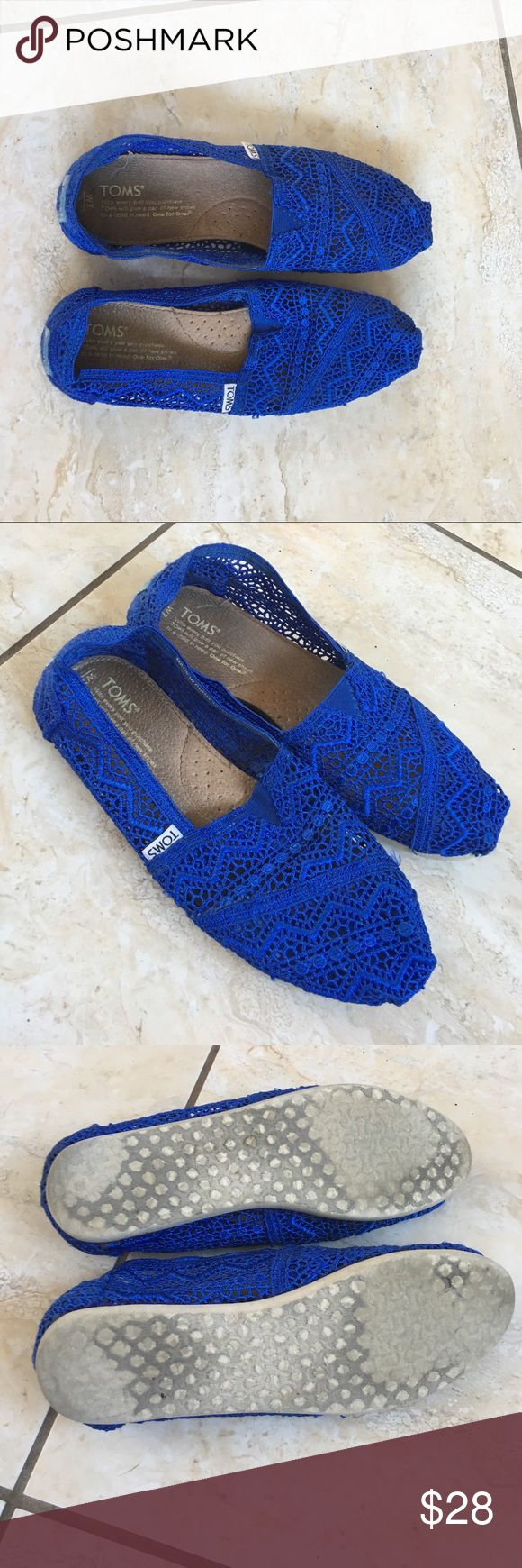 Woven royal blue TOMS Gently worn. Very good condition. Beautiful blue. Perfect for summer. TOMS Shoes Flats & Loafers