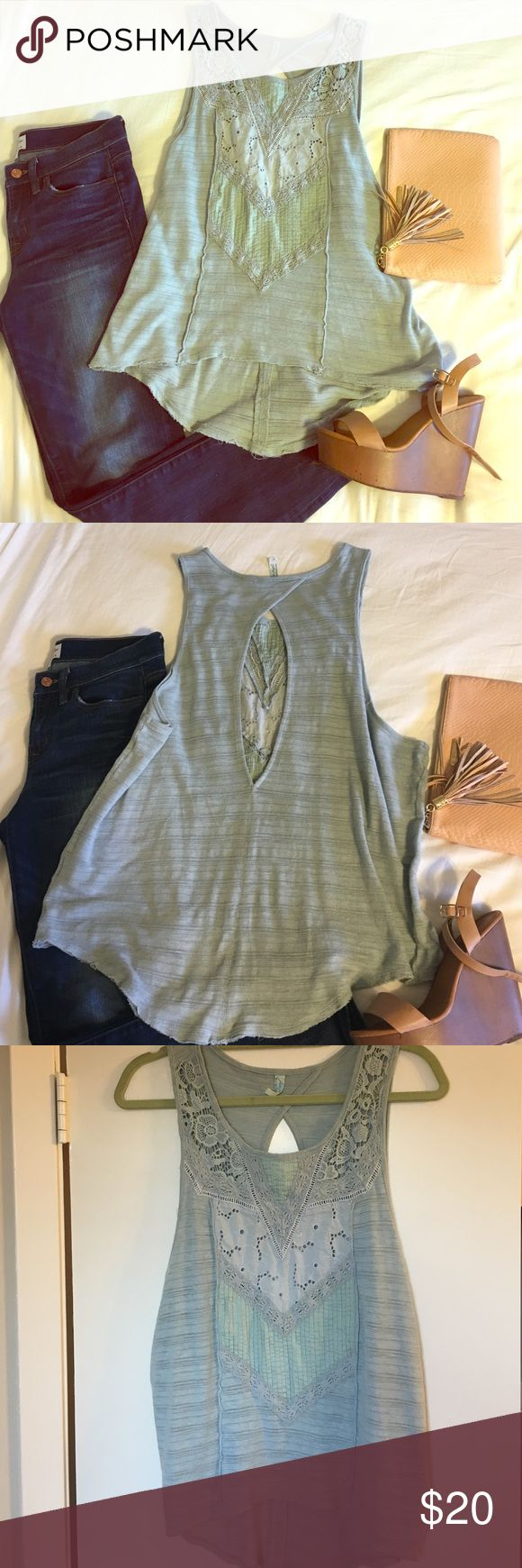 FREE PEOPLE oversized pistachio green tank Beautiful detailed top for casual daytime or festive nights out! Looks great over bandeau top or bralette. Like new, lightly worn. Large keyhole back. *ft. jcrew jeans also for sale* Free People Tops Blouses