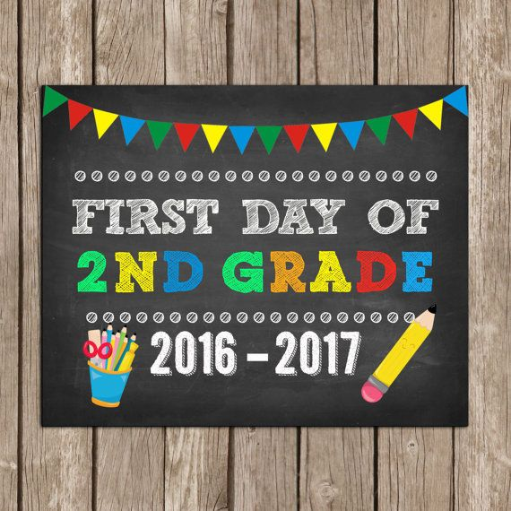 It is a picture of Adorable First Day of Second Grade Free Printable