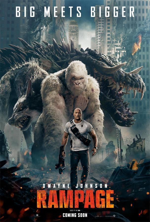 Dwayne Johnson 2018 Sci Fi Film Rampage Movie Poster 18x12 36x24 40x27 Full Movies Online Free Free Movie Downloads Free Movies Online