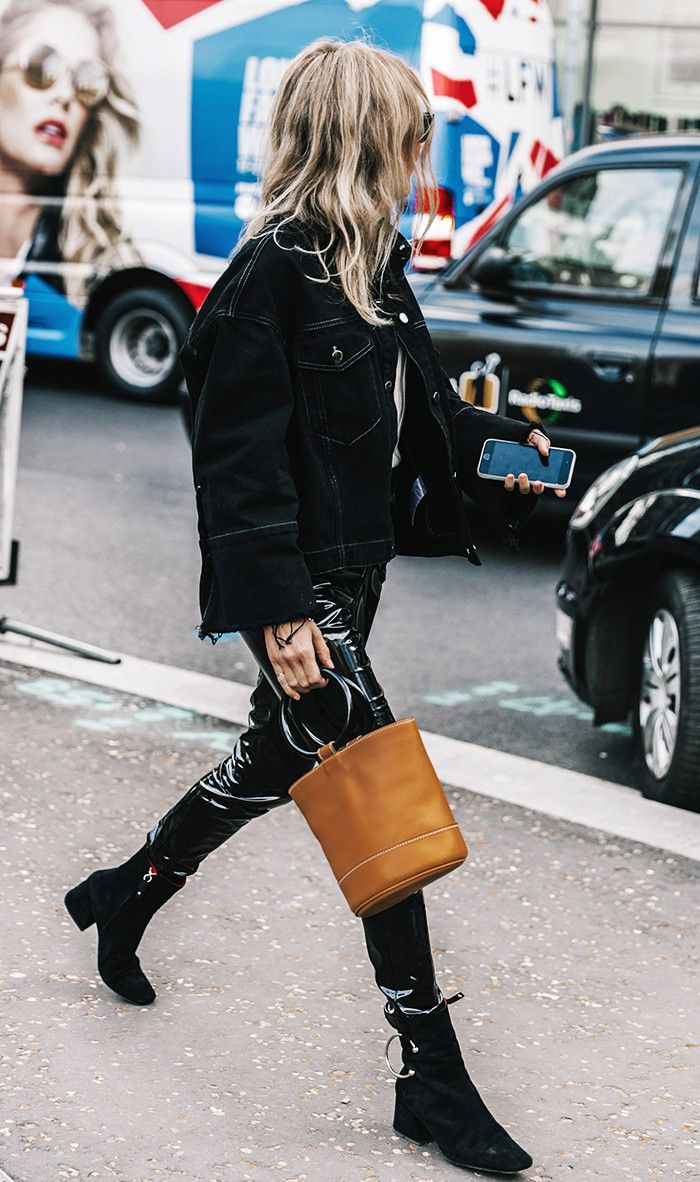 Street style stars stepped out during fashion month wearing a bold new trend: patent leather pants. Shop our favorite picks.