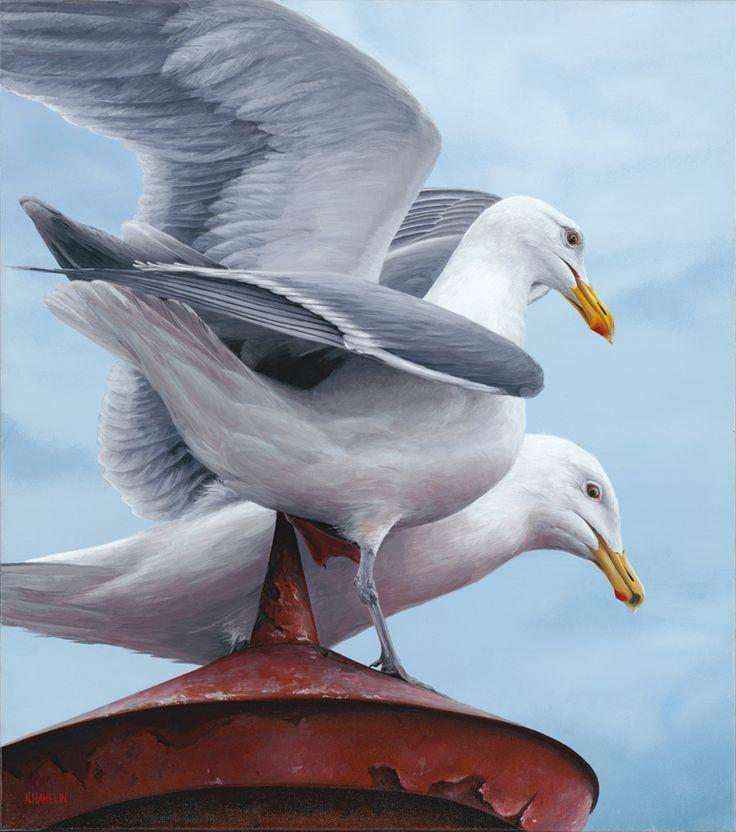 Brockton Point Gulls, Acrylic Painting, N. Hamelin