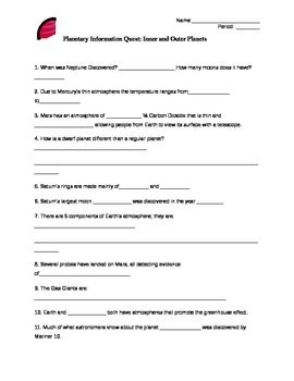 Inner Planets Worksheet Middle School (page 3) - Pics ...