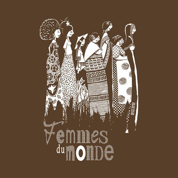 """T shirt équitable coton bio chocolat<br><b>JALNA """"Femmes du Monde""""</b><br><b><font color=""""#6a8d25"""">Collection hiver 2017</font></b>"""