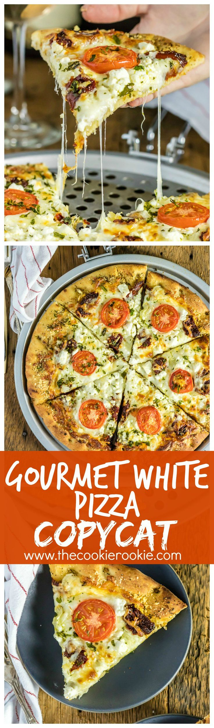 Easy Gourmet White Pizza Copycat. This pizza is SO GOOD! Made to be like the popular Mellow Mushroom Pizza favorite. Lots of cheese, two types of tomatoes, and an olive oil garlic base. BEST RECIPE EVER!