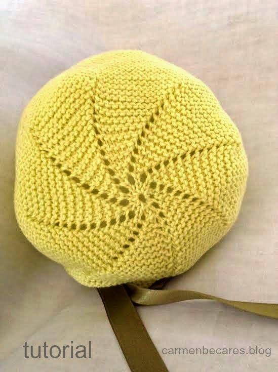 TUTORIAL.  Gorro capota  de lana para bebe. ( tejido dos agujas) carmenbecares.blogspot.com