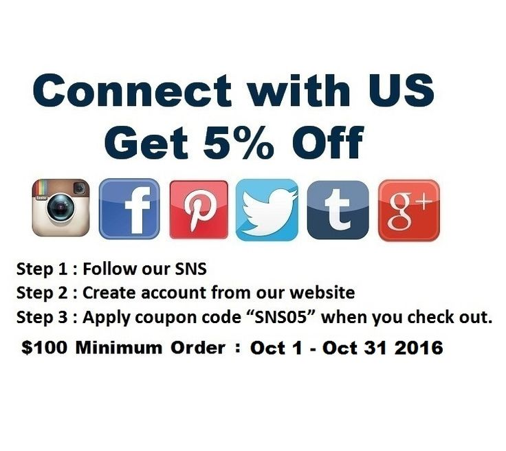 "Oct 2016 Promotion Connect with US Get 5% Off ($100 Minimum order) Step 1 : Follow our SNS Step 2 : Create account from our website Step 3 : Apply coupon code""SNS05""when you check out. (Limited Time Only : Until End of Sep 2016) Instagram : BarberSalonCom Facebook : BarberSalonCom Twitter : BarberSalonCom Pinterest : BarberSalonCom Google+ : Google.com/+IrvingtonBeauty Tumblr : barbersaloncom.tu... Visit www.BarberSalon.com One stop shopping for Professional Barber Supply, Salon Supply"