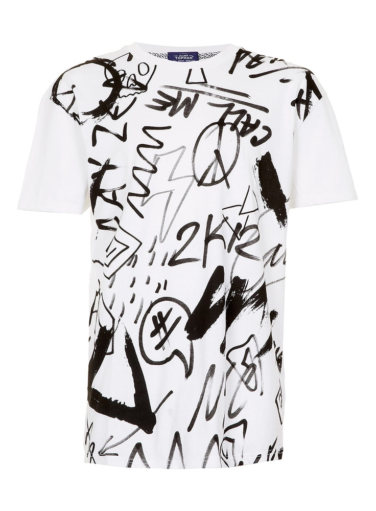 WHITE PAINTED SCRIBBLES PRINT SUPERSIZE T-SHIRT - Topman price: £10.00