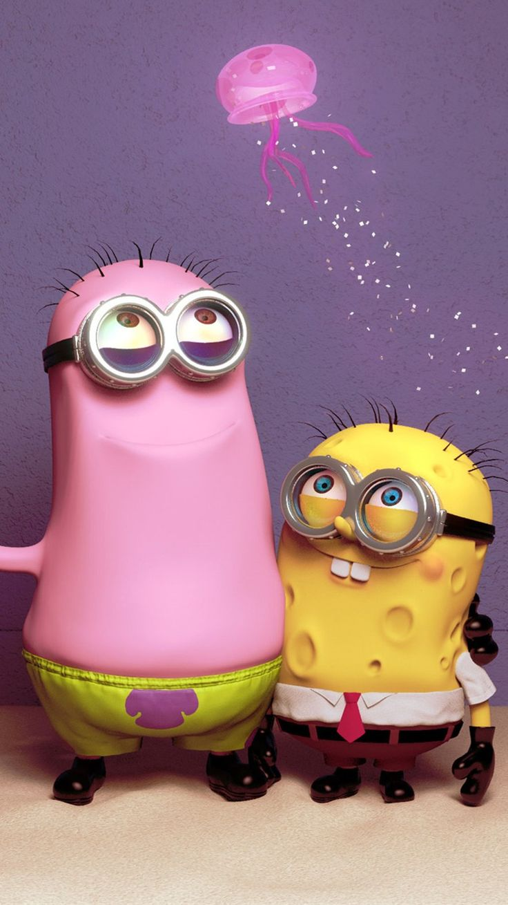 Patrick Star and SpongeBob minion iphone 6 wallpaper - Despicable Me iphone 6 wallpaper for 2014 Halloween