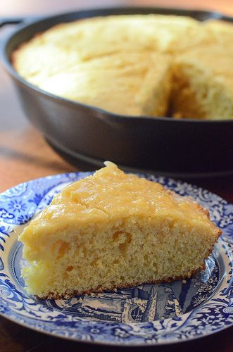 Rustic Sweet Cornbread with Honey Butter ... prepared in a Lodge Cast Iron Skillet. USA made since 1896!