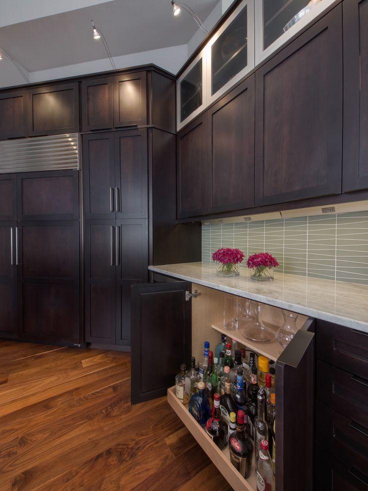 Small Liquor Cabinet Kitchen Contemporary with Bar Barware Dark Wood Glass Tile Glass Tile Backsplash Integrated