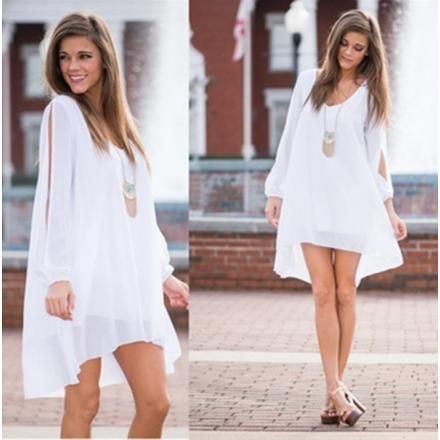 E-Thinker Sexy Vestido Abertura mangas largas Gasa floja ocasional Vestido de playa-Blanco
