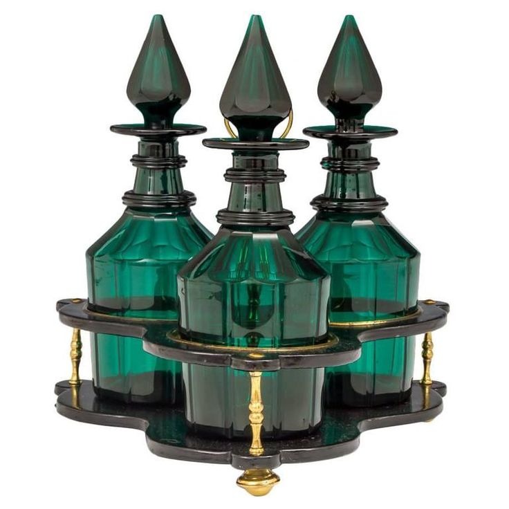 Set of Three Green Glass Victorian Decanters in Black Lacquer Stand | 1stdibs.com