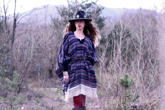 Blue Mexican poncho. by dollpoupeeboutique on Etsy
