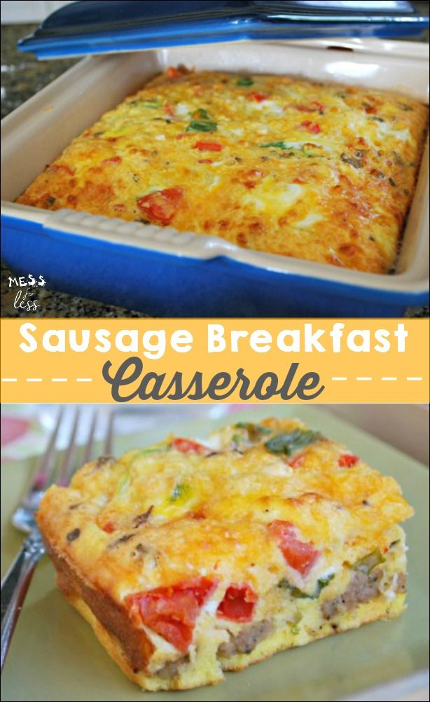 This Sausage Breakfast Casserole can be made the night before and cooked in the morning. Perfect holiday or weekend meal. #AD #QuickerPickerUpper