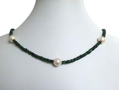 Smaragdkette mit Perlen Smaragd und 9 mm Zuchtperlen Halskette in 14k Gold | Your #1 Source for Jewelry and Accessories