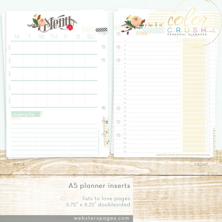 Lists To Love Color Crush A5 Planner Inserts • Webster's Pages